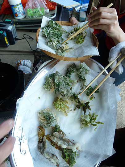 天ぷら、お塩でいただきましょう! パリッ!カラッ!衣に小さじ1の酢を入れるといいらしいよ